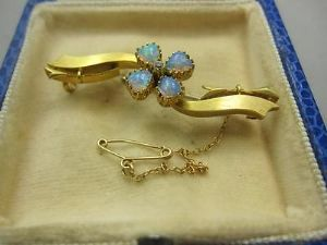 15ct Edwardian opal heart and diamond bar brooch